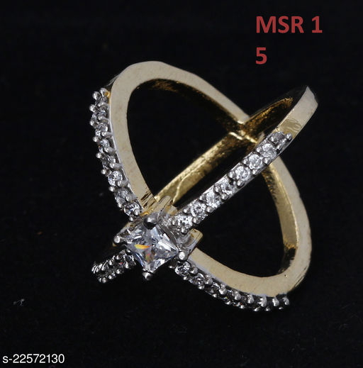 Indian Traditional Clutster Style Ring Oval Cubic Zircon White Gorgeous Gold Plated Royal Looking Jewellery for Girls Ladies Women MSR 1-WHITE