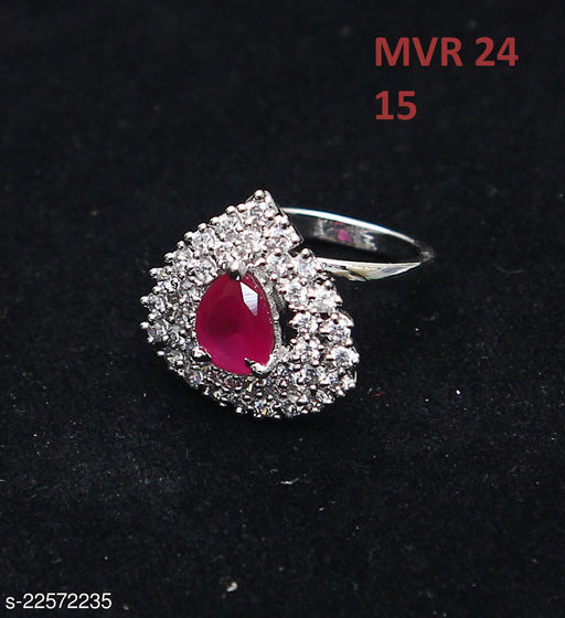 Jewelry Traditionl Looking Clutster Style Ring Pear Ruby, Cubic Zircon Red-White Rich Designer 14K Gold Plated Royal Looking Jewellery for Girls Ladies Women MVR 24-WP