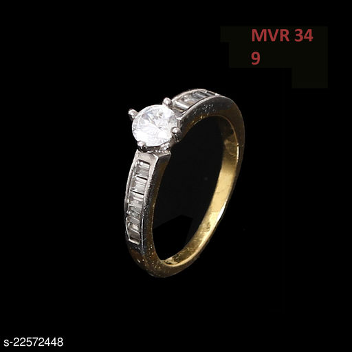 Jewelry Ethnic Design Enamel Work Ring Round Pearl White Unique 14K Gold Plated Rich Designer Jewellery for Girls Ladies Women MVR 34-GJ