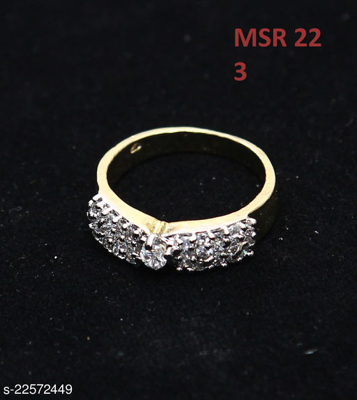 Beautiful Design Ethnic Ring Oval Cubic Zircon White Indian Handmade 18K Gold Plated Designer Jewellery for Girls Ladies Women MSR 22