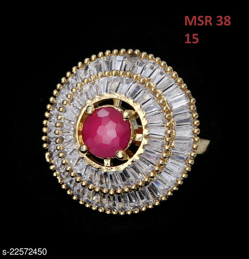Jewelry Indian Traditional Ethnic Ring Round Ruby, Cubic Zircon Pink-White Gorgeous 18K Gold Plated Rich Designer Jewellery for Girls Ladies Women MSR 38-PINK