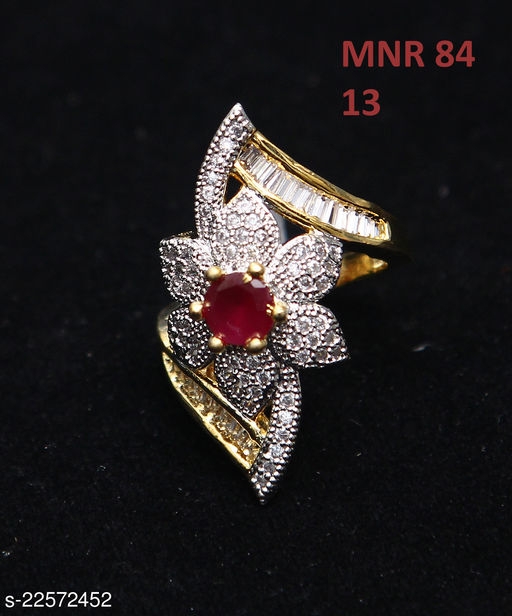 Unique Design Enamel Work Ring Round Ruby, Cubic Zircon Red-White Intricately Handcrafted in 14K Gold Plated Rich Designer Jewellery for Girls Ladies Women MNR 84-RED