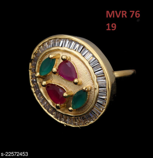 Ethnic Design Ethnic Ring Drop Emerald,Cubic Zircon Multi-Color Unique Yellow Gold Plated Rich Designer Jewellery for Girls Ladies Women MVR 76-GOLD