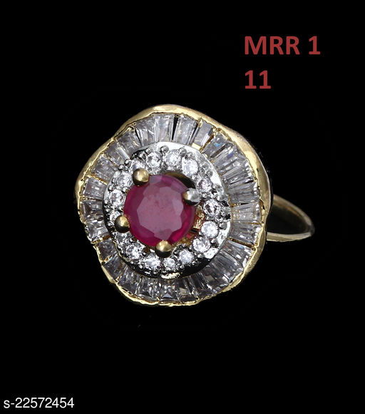Traditionl Looking Enamel Work Ring Oval Ruby, Cubic Zircon Pink-White Rich Designer Gold Plated Designer Jewellery for Girls Ladies Women MRR 1-PINK