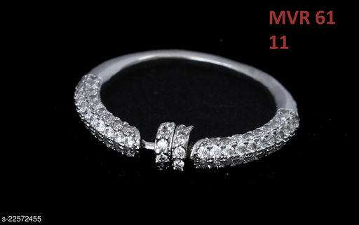 Jewelry Traditionl Looking Cocktail Ring Round Cubic Zircon White Rich Designer 18K Gold Plated Stylish Jewellery for Girls Ladies Women MVR 61-WHITE