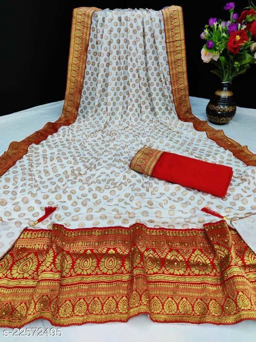 Heer Enterprise Women's Malai Silk Zari Butti And Red Patta Border Party Wedding Fashion Sarees White Color