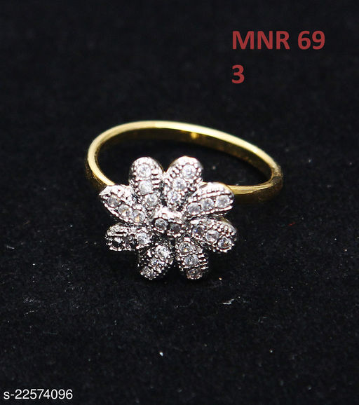 Unique Design Polki Ring Oval Cubic Zircon White Intricately Handcrafted in 14K Gold Plated Designer Jewellery for Girls Ladies Women MNR 69