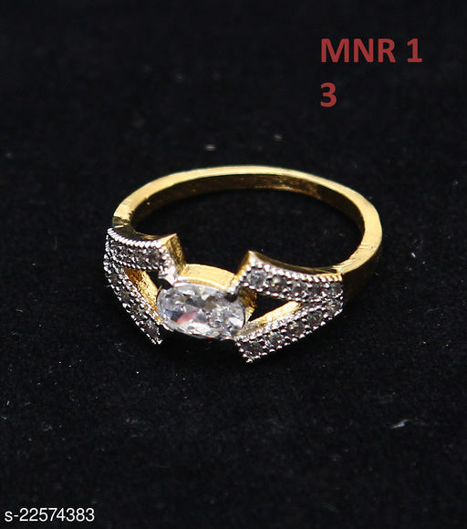 Unique Design Enamel Work Ring Oval Cubic Zircon White Intricately Handcrafted in 14K Gold Plated Hand Jewellery for Girls Ladies Women MNR 1-WHITE