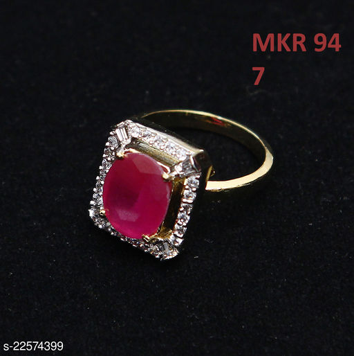 Classy Looking Cocktail Ring Oval Ruby, Cubic Zircon Orange-White Beautiful Yellow Gold Plated Stylish Jewellery for Girls Ladies Women MKR 94-RED