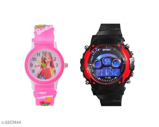 Trendy Plastic & Rubber Digital Kid's Watches Combo (Pack Of 2)