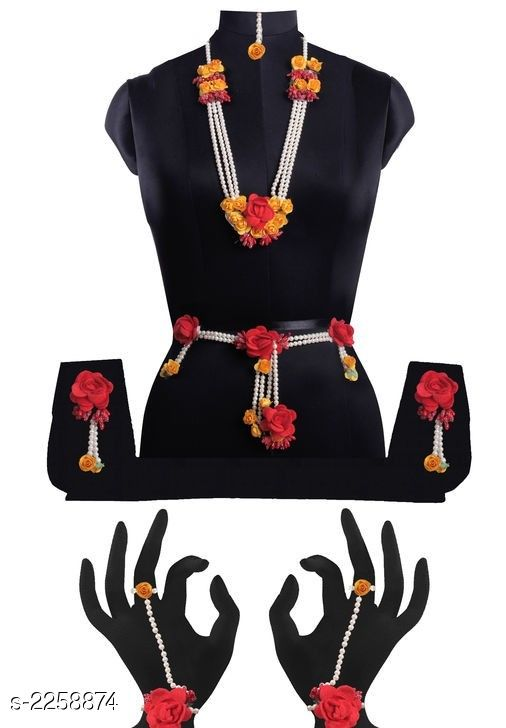 Jewellery Set  Elite Artificial Flower Women's Jewellery Set  *Material* Artificial Flower  *Size* Free Size  *Description* It Has 1 Piece Of Necklace With 1 Pair Of Earrings , 1 Piece Of Maang Tikka ,  1 Pair Of Haath Phool , 1 Piece Of Kamar band  *Work* Artificial Flower  *Sizes Available* Free Size *   Catalog Rating: ★4.1 (98)  Catalog Name: Charming Beautiful Designer Jewellery Sets Vol 4 CatalogID_300723 C77-SC1093 Code: 813-2258874-
