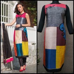 Women Colorblocked Taffeta Silk Kurti