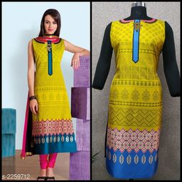 Women Taffeta Silk A-line Printed Yellow Kurti