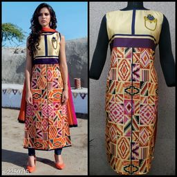 Women Ethnic Motif Printed Taffeta Silk Kurti