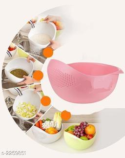 Unique Washing Bowl & Strainer Cum Fruit Basket (Pack Of 2)