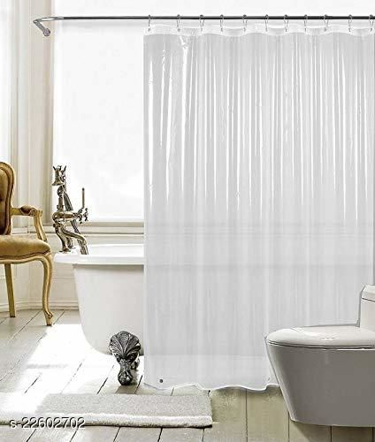 Fabfurn (0.15 mm) Set of 2 Transparent PVC Shower Curtains, AC Curtain with Hooks - 7 Feet