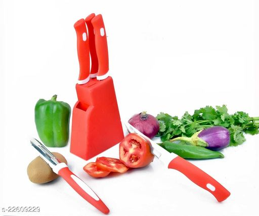 Knife Set 5 Pcs With Red Stand