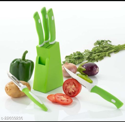 Knife Set 5 Pcs With Green Stand