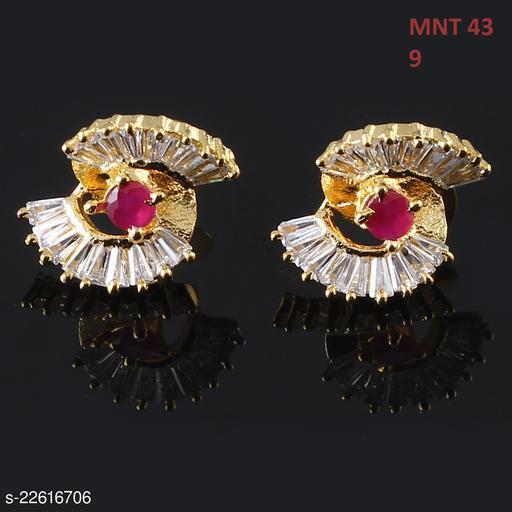 Stud Earrings,18K Gold Plated,Cubic Zircon, Ruby,Indo-Western Ethnic Fashion Jewellery