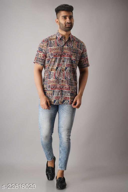 Zyla traitional print cotton half sleeves shirt.