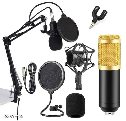 Corslet BM800 Microphone for Voice Recording Microphone for Singing with Nb-35 Stand Pop Filter 3.5mm Audio Jack Mic Set for Singing Voice Studio Youtube Live Streaming Recording Podcast Broadcasting Microphone for Voice Recording