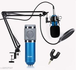 Corslet Microphone for Voice Recording BM 800 Condenser Studio Recording Microphone Condenser with Mic Stand and Splitter Professional Condenser Microphone Sound Studio Recording Dynamic Windows and Mac with Suspension Scissor Arm Stand, Shock Mount and Table Mounting Clamp Kit for Broadcasting