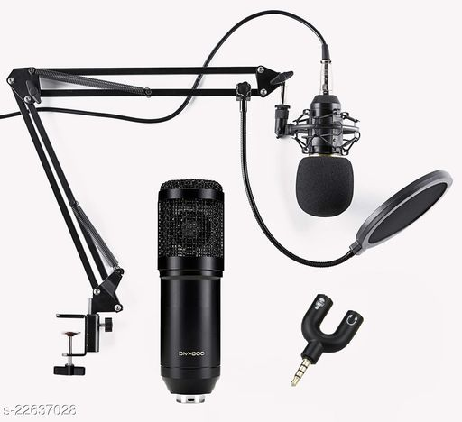 Corslet BM800 Condenser Studio Microphone for voice recording Kit with NB-35 Stand Pop Filter 3.5mm Audio Jack Mic Set for Singing Voice Studio YouTube live Streaming Recording Podcast Broadcasting Microphone for Voice Recording BM 800 Condenser Studio Recording Microphone