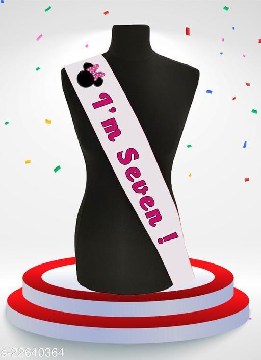 Style Secrets Premium Quality Shimmering White Satin 7th Birthday Sash for Pretty Princesses