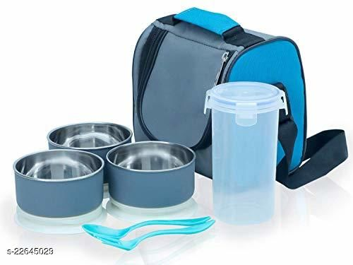 Shiv Kitchen Tiffin Box, Lunch Box Set, Office Lunch Box Set with Bag (Blue)