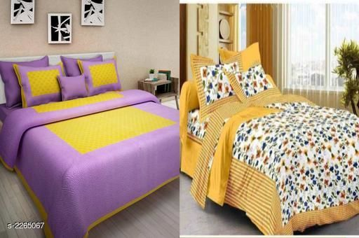 Attractive Cotton Printed Double Bedsheets Combo