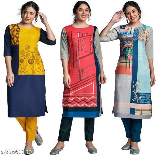 Navlik Women's A-line Crepe Kurtis Combo Maha Price Drop Sale