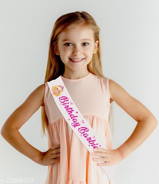 Style Secrets Premium Quality Shimmering White Satin Birthday Barbie Sash for Pretty Princesses
