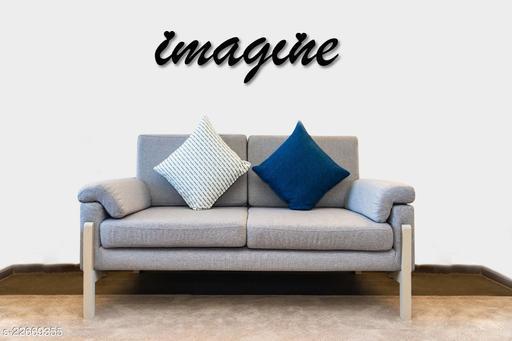 Imagine Sign Wall Hanging Décor, Wooden, Matte Black