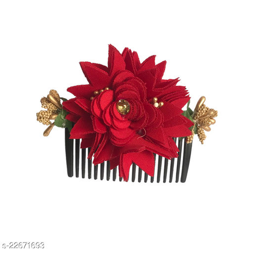 GadinFashion™ Bridal Fancy Hair Accessories Floral Clip Side Comb Juda Pin for Women and Girls Pack-01,Color-Red