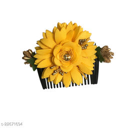 GadinFashion™ Bridal Fancy Hair Accessories Floral Clip Side Comb Juda Pin for Women and Girls Pack-01,Color-Yellow