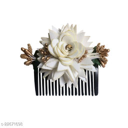 GadinFashion™ Bridal Fancy Hair Accessories Floral Clip Side Comb Juda Pin for Women and Girls Pack-01,Color-White