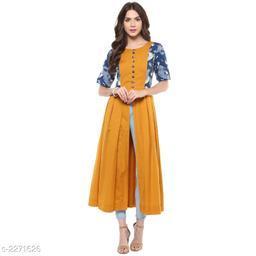 Women Cotton High- Slit Printed Mustard Kurti