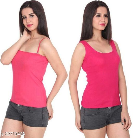 Women Pack of 2 Pink Cotton Blend Camisoles