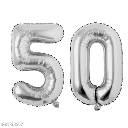 """16"""" Mylar Silver Foil Balloon for Birthday, Anniversary and Other Party Decoration ( Number - 50 )"""
