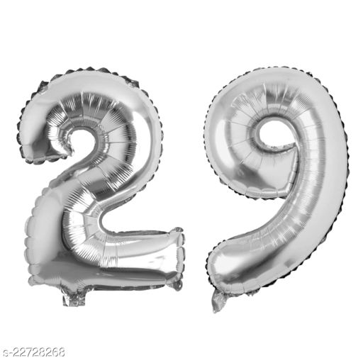 """16"""" Mylar Silver Foil Balloon for Birthday, Anniversary and Other Party Decoration ( Number - 29 )"""