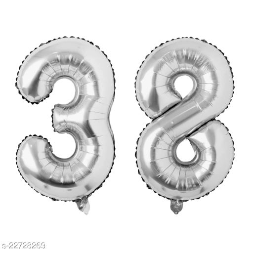 """16"""" Mylar Silver Foil Balloon for Birthday, Anniversary and Other Party Decoration ( Number - 38 )"""
