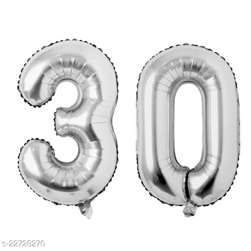 """16"""" Mylar Silver Foil Balloon for Birthday, Anniversary and Other Party Decoration ( Number - 30 )"""