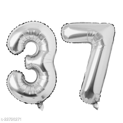 """16"""" Mylar Silver Foil Balloon for Birthday, Anniversary and Other Party Decoration ( Number - 37 )"""