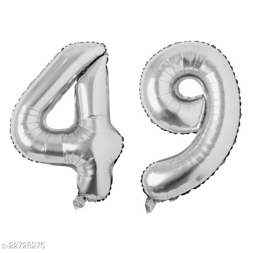 """16"""" Mylar Silver Foil Balloon for Birthday, Anniversary and Other Party Decoration ( Number - 49 )"""