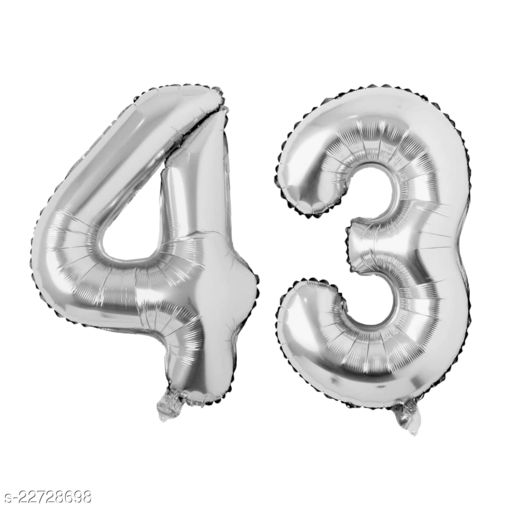"""16"""" Mylar Silver Foil Balloon for Birthday, Anniversary and Other Party Decoration ( Number - 43 )"""