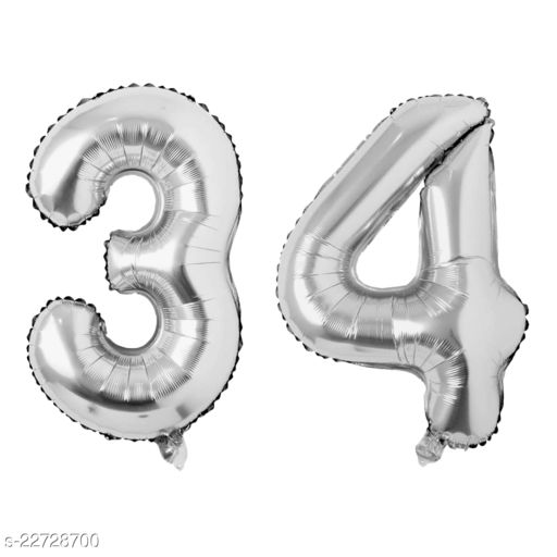 """16"""" Mylar Silver Foil Balloon for Birthday, Anniversary and Other Party Decoration ( Number - 34 )"""