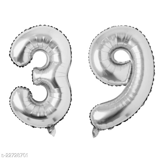 """16"""" Mylar Silver Foil Balloon for Birthday, Anniversary and Other Party Decoration ( Number - 39 )"""