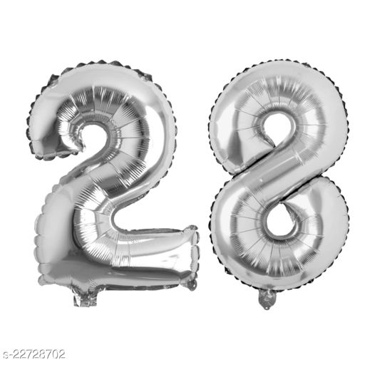 """16"""" Mylar Silver Foil Balloon for Birthday, Anniversary and Other Party Decoration ( Number - 28 )"""