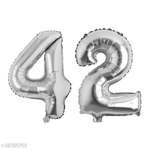 """16"""" Mylar Silver Foil Balloon for Birthday, Anniversary and Other Party Decoration ( Number - 42 )"""
