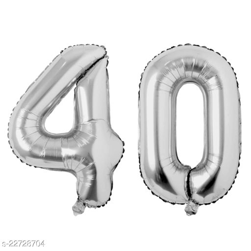 """16"""" Mylar Silver Foil Balloon for Birthday, Anniversary and Other Party Decoration ( Number - 40 )"""